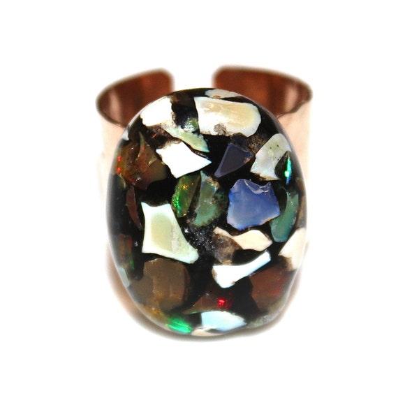 Mosaic Opal Ring Cigar Band Ring Gold Cigar Ring Adjustable