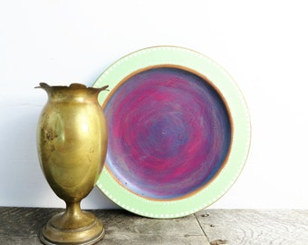 Pretty Little Display Plate - Mint Green Purple Teal - Dots - Eclectic Unique Handpainted
