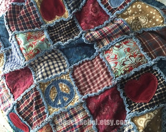 Boho rag quilt throw in plaid wovens, batiks, peace and heart appliques and distressed denim