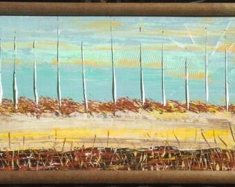 "ORiGiNAL Landscape ABSTRACT 37"" x 18"" original Acrylic Painting ""SUNSHiNE Orange Horizon""  - with vintage wood frame   37"" X 18"" - (17-0101)"