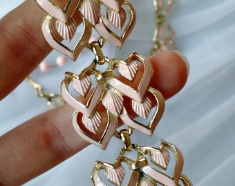 1950's Pink Coro Necklace and Bracelet Set