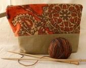 Orange Upcycled Linen Project Bag