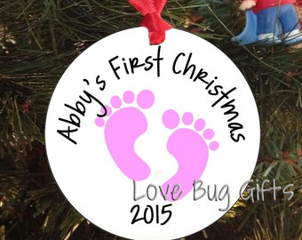 Baby's First Christmas Ornament • Footprints • Personalized