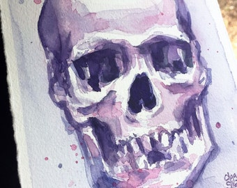 Skull painting Skull Artwork Purple Skull Watercolor Painting, Original Art by Olga Shvartsur, Skull Art, Skull Painting 5.5x7.5