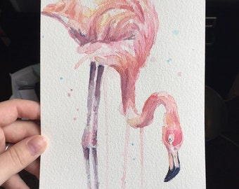 Flamingo Watercolor ORIGINAL Watercolor Painting, Pink Tropical Bird Illustration, Whimsical Flamingo Artwork