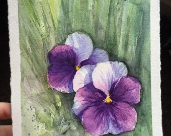 Purple Pansies Watercolor Painting, Flower Watercolor, Purple Painting, Watercolor Pansies, Original, Spring Flowers, Floral Art, Violet