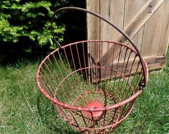 Vintage Metal Egg Basket--Red