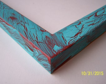11x14 Ready to Ship Picture Frame ~ Rustic ~ Crackle ~  Shabby Chic ~ 1 in Flat Profile ~ Aquamarine over Orange