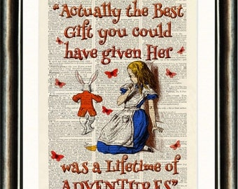 Alice in Wonderland Quote 1 Orange vintage book page print on a page from a late 1800s Dictionary Buy 3 get 1 FREE