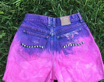 Vintage Jean Shorts Dyed Pink with Studs