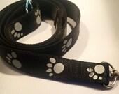Dog Leash, Reflective Leash, Black, Paw Print Leash,1 inch wide, Strong, 4 feet