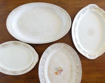 Vintage Mixed Lot Ceramic Platters Mismatched Decor