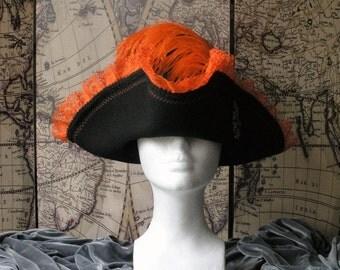 Black & Orange Pirate Tricon Hat
