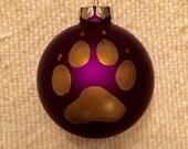 Huskies Paw Print Ornament,University of Washington Huskies Ornament, Purple Ornament, Dog Paw Ornament, Purple Glass Christmas Ornament