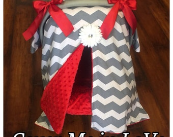 Grey chevron and red minky Car seat canopy
