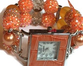 Orange Sherbet Chunky Beaded Watch - Interchangeable Watch - Apple Watch Band - BeadsnTime - Unique Watch - Stretch Watch Band -Orange Watch