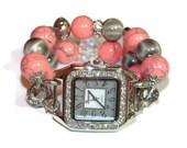 Salmon and Glitz Chunky Beaded Watch - BeadsnTime - Interchangeable Watch - Apple Watch Band - Unique Watch - Bracelet Watch - Teacher Gift