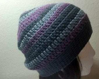 CLEARANCE Multi-Color Stripe Slouch - Crochet Slouchy Beanie - Slouchy Hat - Ribbed Beanie - Hipster Hat