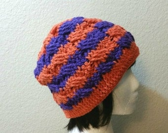 Crochet Orange and Purple Beanie - Cabled Beanie - Womens Slouchy Hat - Hipster Hat - Winter Beanie