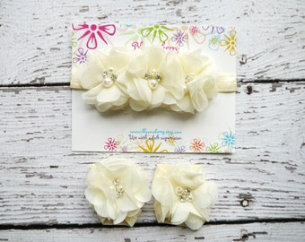 Baby Headband and Barefoot Sandals - Ivory Color - Baby Sandals - Ivory Baby Sandals - Photoprop/Birthday/Gift - Newborn to 2T