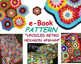e-Book *Afghan UPCICLED RETRO HExAGON* crochet pattern in US-English & German, pdf-datei, crochet blanket, afghan, granny square