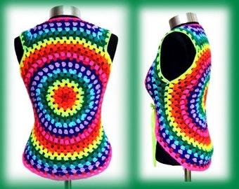 Crochet BOLERO * GrannY RainBoW * XS-M * multicolor VEST, Cardigan, size 4-10