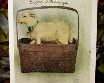 Easter Blessings Sheep Greeting Card - FREE SHIPPING