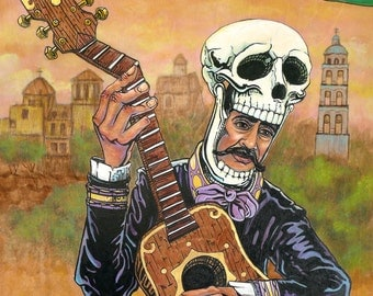Mexoskeleton Mariachi 8x10 print, Day of the Dead Guitar, Guitar player, Musician, skeleton guitar player, Mexican art, skull, art, mexico