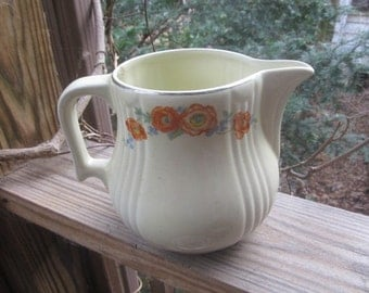 halls superior quality kitchenware, orange poppy decorative pottery pitcher