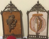 ANTIQUE BRONZE FRAMES, Victorian Parrot and Needlepoint, Victorian Art, Victorian Frames at Ageless Alchemy