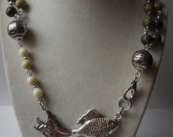 Yellow Turquoise Stone Koi Pendant Necklace