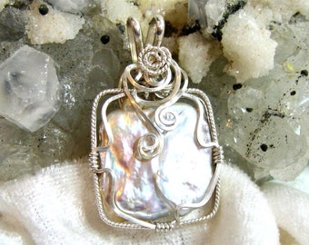 Square Pearl Pendant, Baroque Pearl Pendant, Keshi Freshwater Pearl Pendant, Wire Wrapped in 935 Sterling Silver Argentium Anti Tarnish