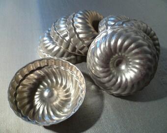 Vintage Aluminum Baking Shape Molds - Set of 7
