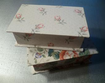 Set of 2 Jewelry Paper Box Mirror keepsakes Vintage Floral