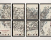 Old United States Map Art Print 1918 Road Map Highway Map Antique Map Archival Reproduction - Set of 8 Prints