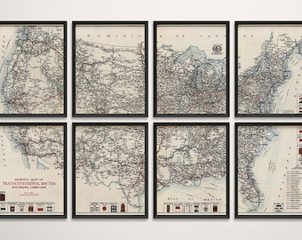 Old United States Map Art Print 1918 Road Map Highway Map Antique Map Archival Reproduction