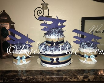 Old Airplane Diaper Cake/Old Airplane Baby Shower Decorations Centerpieces/airplane party/old airplane Birthday decor/burlap & navy/plane