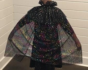 Reversible Halloween Costume Magic Loop Dress Up Cape Cloak in Rainbow Silver Magic Fairy Dots