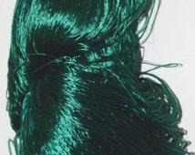 1250 yrds Luxury Reel Shiny Pure Silk Lace Yarn, forest green, 125 gr/hank