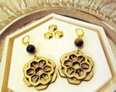 honeycomb earrings, nature inspired jewelry, lasercut jewelry, mandala earrings, sacred geometry, tiger eye beads, intricate jewelry