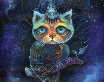 Midnight Meowl - large print, 11x14inch size, meowl, hybrid animal, fine art print, spirit animal, shamanism, art by phresha