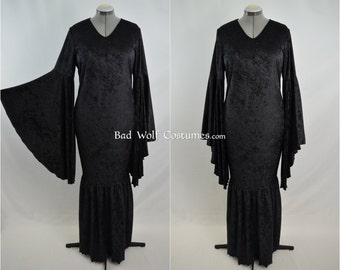 Morticia Addams Dress Gown - Gothic, vampire, mermaid, costume, cosplay, LARP