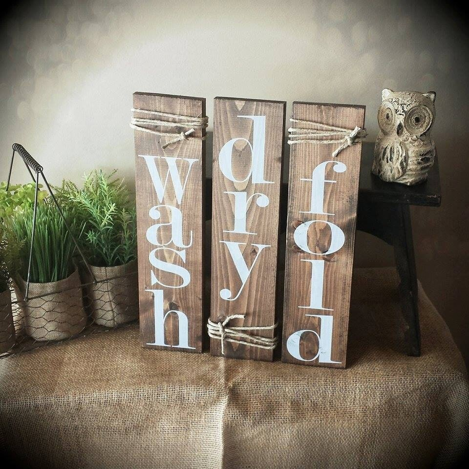 Laundry Room Accessories Decor: Wash//dry//fold Laundry Room Decor Signs. Set Of 3 Rustic