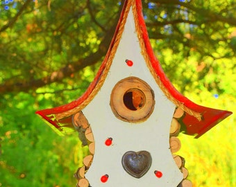 Birdhouse, bird house, hanging birdhouse in color options, heart birdhouse, rose birdhouse,