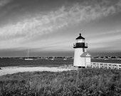 Black and White Photography Nautical Wall Art Nantucket Photo Beach Decor Brant Point Lighthouse Picture Large Art Print Coastal Artwork