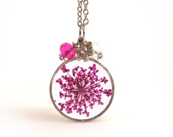 Pink Queen Anne Lace Resin Pendant Necklace - real flower encased in resin with open back bezel, Pressed Flower Jewelry - Real Flower
