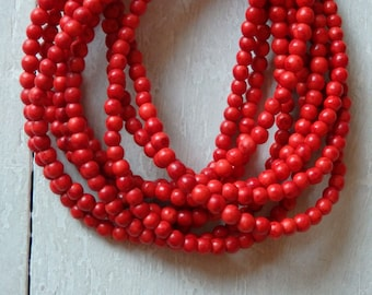 """4mm BRIGHT RED howlite beads - 16"""" strand of dyed howlite beads, 4mm round red beads, small vivid red howlite beads, 4mm round howlite beads"""