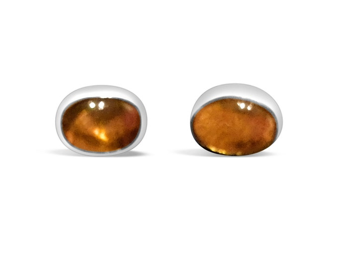 7 x 5mm Citrine and Sterling Silver Stud Earrings