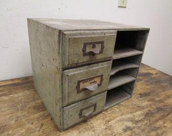 Antique Primitive 3 Drawer File Recipe Spice Box Art Photo Tool Cabinet Card Catalog