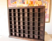 Vintage Printers Tray with Brass Inserts - Shadow Box